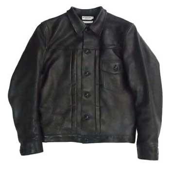 Heller'sCafe Black Leather Jacket ヘラーズカフェ ホースハイド レザージャケット 画像