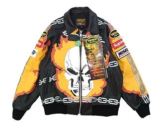 シュプリーム コラボモデル 19SS ×VANSON Leathers Ghost Rider Jacket Black 画像