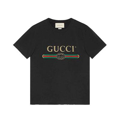 グッチ メンズ ロゴ ウォッシュドオーバーサイズ Tシャツ 画像