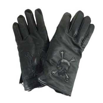 ラムレザー スカル ジッパー 手袋画像