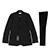 サンローラン ブラックウールモヘアスーツ 画像