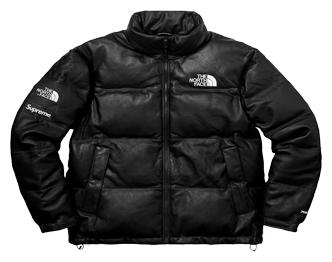 シュプリーム ノースフェイスコラボモデル × The North Face Leather Nuptse Jacket 17FW 画像