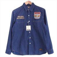 トイズマッコイトップス  WABASH WORK SHIRT JOHNSON GASOLINE ウォバッシュストライプ ワークシャツ 長袖シャツ インディゴブルー系 15 画像
