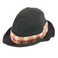 ヨウジヤマモト 帽子 プールオム POUR HOMME 丸ロゴ 80s 初期タグ ウール 柄リボン ハット ダークグレー系 画像